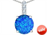 Original Star K™ Large 12mm Round Created Blue Opal Pendant style: 307341