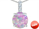 Original Star K™ Large 12mm Round Created Pink Opal Pendant