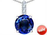 Original Star K™ Large 12mm Round Created Sapphire Pendant style: 307346