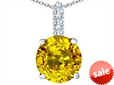 Original Star K™ Large 12mm Round Simulated Citrine Pendant style: 307350