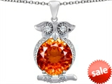 Original Star K™ Large 10mm Round Simulated Orange Mexican Fire Opal Good Luck Owl Pendant
