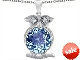 Original Star K™ Large 10mm Round Simulated Aquamarine Good Luck Owl Pendant