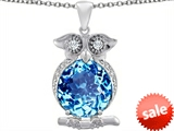 Original Star K™ Large 10mm Round Simulated Blue Topaz Good Luck Owl Pendant