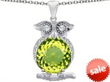 Original Star K™ Large 10mm Round Simulated Peridot Good Luck Owl Pendant