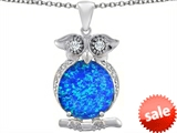 Original Star K™ Large 10mm Round Created Blue Opal Good Luck Owl Pendant style: 307358