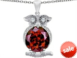 Original Star K™ Large 10mm Round Simulated Garnet Good Luck Owl Pendant style: 307360