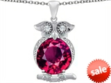 Original Star K™ Large 10mm Round Created Ruby Good Luck Owl Pendant
