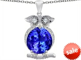 Original Star K™ Large 10mm Round Simulated Tanzanite Good Luck Owl Pendant style: 307363