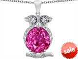 Original Star K™ Large 10mm Round Created Pink Sapphire Good luck Owl Pendant style: 307365