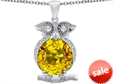 Original Star K™ Large 10mm Round Simulated Citrine Good Luck Owl Pendant