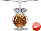 Original Star K™ Large 10mm Round Simulated Imperial Yellow Topaz Good Luck Owl Pendant