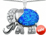 Original Star K™ Large 12x10mm Oval Created Blue Opal Good Luck Elephant Pendant style: 307371