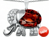 Original Star K™ Large 12x10mm Oval Simulated Garnet Good Luck Elephant Pendant style: 307372