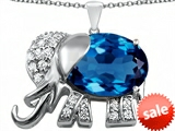 Original Star K™ Large 12x10mm Oval Simulated Blue Topaz Good Luck Elephant Pendant