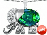 Original Star K™ Large 12x10mm Oval Simulated Emerald Good Luck Elephant Pendant