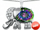 Original Star K™ Large 12x10mm Oval Rainbow Mystic Topaz Good Luck Elephant Pendant style: 307376