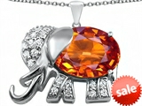 Original Star K™ Large 12x10mm Oval Simulated Orange Mexican Fire Opal Good Luck Elephant Pendant style: 307377
