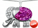 Original Star K™ Large 12x10mm Oval Created Pink Sapphire Good Luck Elephant Pendant