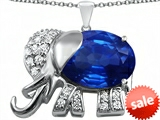 Original Star K™ Large 12x10mm Oval Simulated Sapphire Good Luck Elephant Pendant