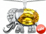 Original Star K™ Large 12x10mm Oval Simulated Citrine Good Luck Elephant Pendant