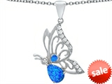 Original Star K™ Butterfly Pendant With 9x6mm Pear Shape Created Blue Opal