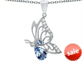 Original Star K™ Butterfly Pendant With 9x6mm Pear Shape Simulated Aquamarine