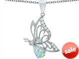 Original Star K™ Butterfly Pendant With 9x6mm Pear Shape Created Opal