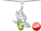 Original Star K™ Butterfly Pendant With 9x6mm Pear Shape Simulated Peridot style: 307392