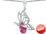 Original Star K™ Butterfly Pendant With 9x6mm Pear Shape Created Pink Sapphire