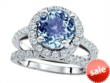 Original Star K™ 8mm Round Simulated Aquamarine Engagement Wedding Set