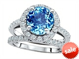 Original Star K™ 8mm Round Simulated Blue Topaz Engagement Wedding Set