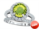 Original Star K™ 8mm Round Simulated Peridot Engagement Wedding Set