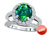 Original Star K™ 8mm Round Simulated Emerald Engagement Wedding Set