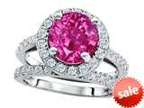 Original Star K™ 8mm Round Created Pink Sapphire Engagement Wedding Set style: 307405