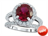Original Star K™ 8mm Round Created Ruby Engagement Wedding Set