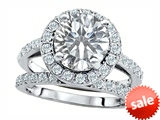 Original Star K™ 8mm Round Genuine White Topaz Engagement Wedding Set