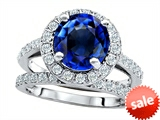 Original Star K™ 8mm Round Created Sapphire Engagement Wedding Set