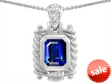 Original Star K™ Bali Style Emerald Cut 9x7mm Created Sapphire Pendant