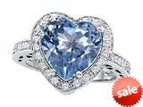 Original Star K™ Large 10mm Heart Shape Simulated Aquamarine Engagement Wedding Ring
