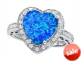 Original Star K™ Large 10mm Heart Shape Simulated Blue Opal Engagement Wedding Ring style: 307413