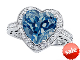 Original Star K™ Large 10mm Heart Shape Simulated Blue Topaz Engagement Wedding Ring