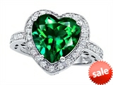 Original Star K™ Large 10mm Heart Shape Simulated Emerald Engagement Wedding Ring