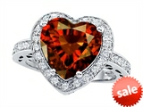 Original Star K™ Large 10mm Heart Shape Simulated Garnet Engagement Wedding Ring