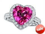 Original Star K™ Large 10mm Heart Shape Created Pink Sapphire Engagement Wedding Ring style: 307419