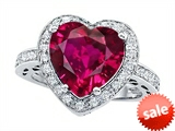Original Star K™ Large 10mm Heart Shape Created Ruby Engagement Wedding Ring style: 307420