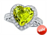Original Star K™ Large 10mm Heart Shape Simulated Peridot Engagement Wedding Ring style: 307422