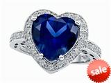 Original Star K™ Large 10mm Heart Shape Created Sapphire Engagement Wedding Ring style: 307423