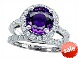 Original Star K™ 8mm Round Simulated Amethyst Engagement Wedding Set