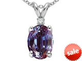 Tommaso Design™ Oval 8x6mm Simulated Alexandrite And Genuine Diamond Pendant