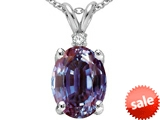 Tommaso Design™ Oval 9x7mm Simulated Alexandrite And Genuine Diamond Pendant style: 307426
